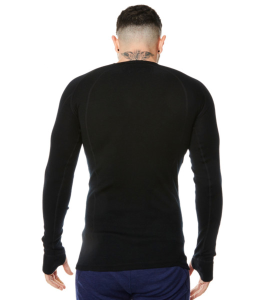 Mens Merino Wool Base Layer Crew Top Black Back