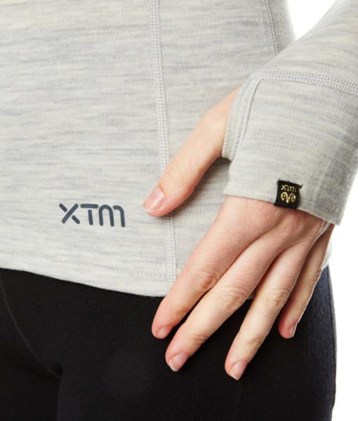 Womens Merino Wool Base Layer Top Light Grey Marle Hand