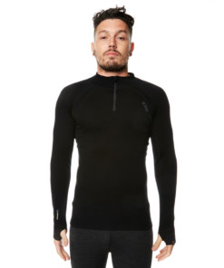 Mens Merino Wool Base Layer Zip Black