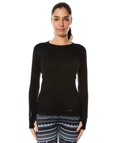Womens Merino Wool Base Layer Crew Top Black