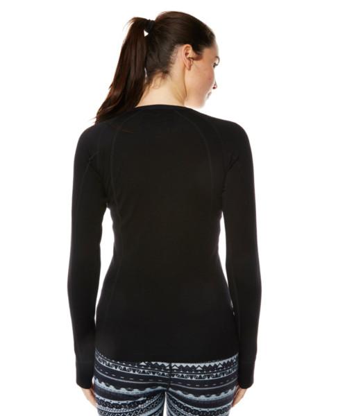 Womens Merino Wool Base Layer Crew Top Black Back
