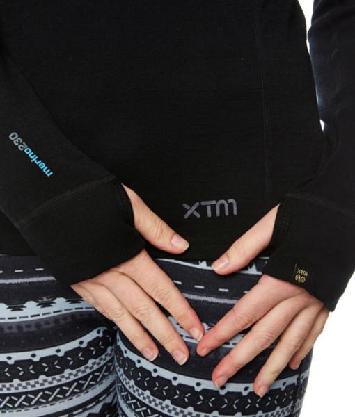 Womens Merino Wool Base Layer Black Hand
