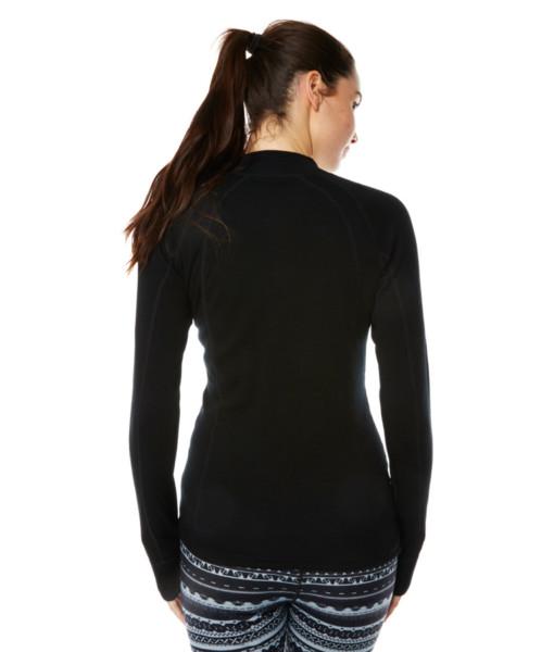 Womens Merino Wool Base Layer Zip Black Back