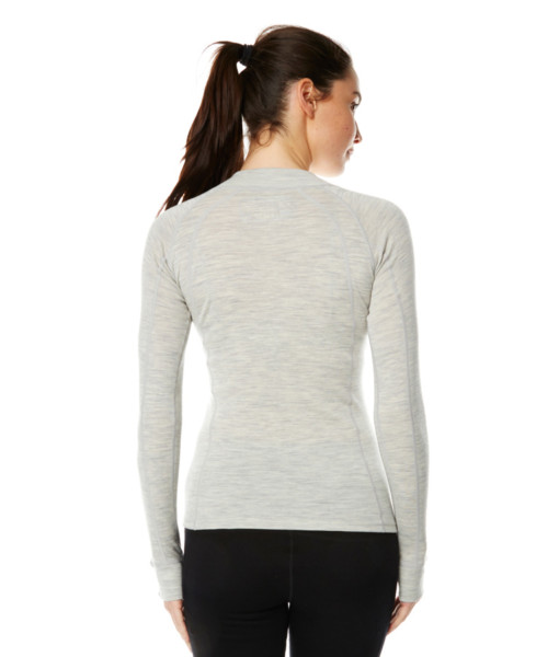 Womens Merino Wool Base Layer Zip Light Grey Marle Back