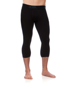 Mens Merino Wool Base Layer 3/4 Pants Black