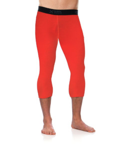 Mens Merino Wool Base Layer 3/4 Pants Orange