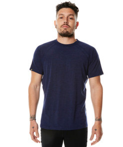 Men's Merino Wool Short Sleeve T-Shirt Blue Marle