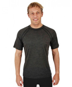 Mens Merino Wool Short Sleeve T-Shirt Dark Grey Marle