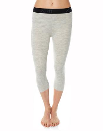 Womens Merino Wool Base Layer 3/4 Pants Light Grey Marle